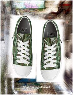 Modern Camo low tops by Patricia Griffin